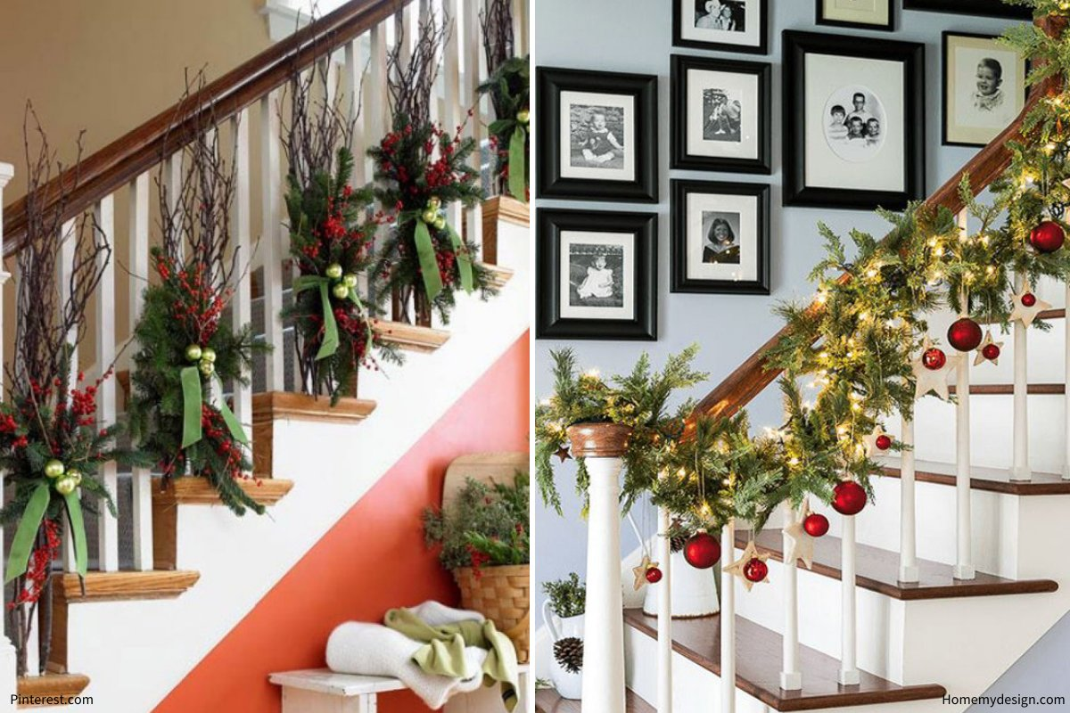 holiday decorating tips: stair bannisters